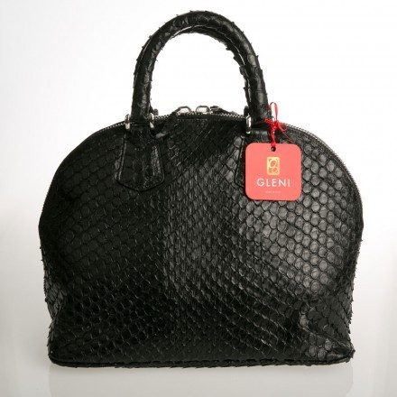 Rounded black anaconda handbag