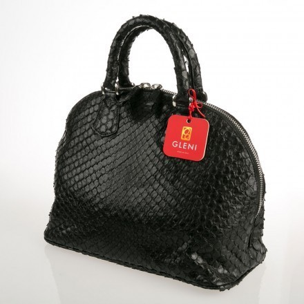 Rounded black anaconda handbag made in italy