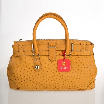 woman handbag in genuine ostrich