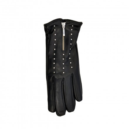 Woman black nappa leather gloves with cashmere internal section