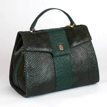 Genuine handbag in anaconda leather