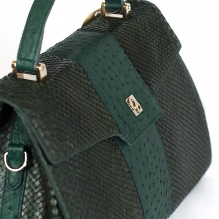 Genuine ostrich green handbag GLENI