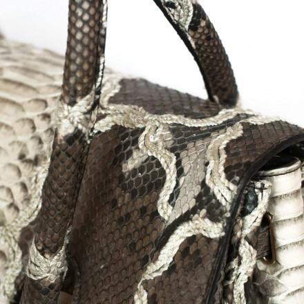Gleni handbag in roccia and brown embroided python