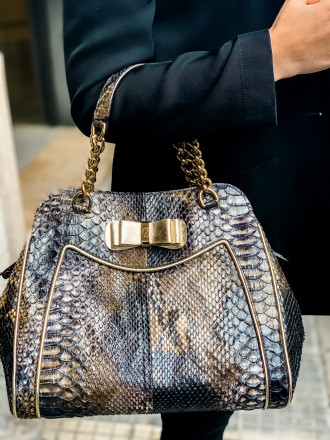Medium sized Tarquinia bag in genuine forest black python by GLENI
