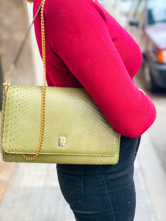Compact shoulder bag in green python by Gleni