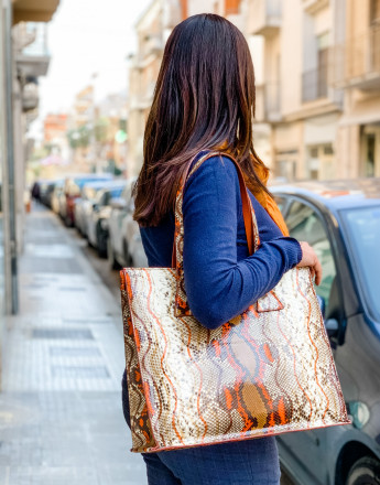 Orange python shopper by GLENI