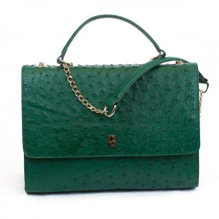 Helena emerald ostrich leather