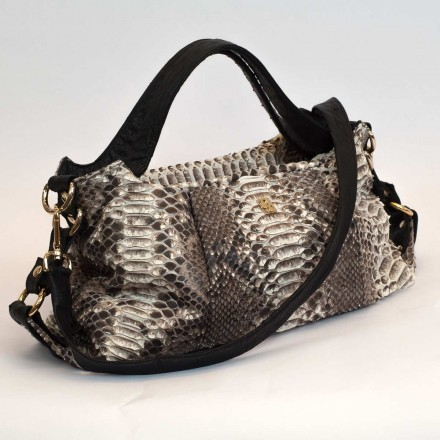 Irina python and ostrich handbag