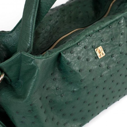 Details of the leather - Irina bag in genuine ostrich leather