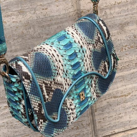 Sibilla in sea blue python leather