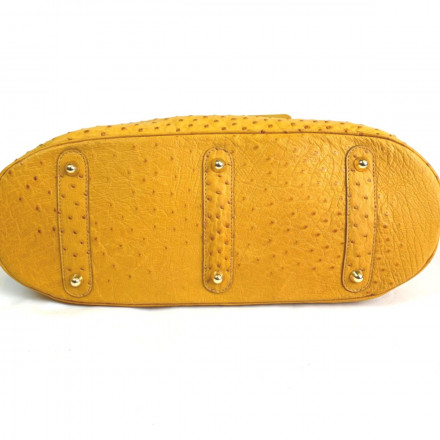Bottom of genuine ostrich bag in yellow tonality by GLENI