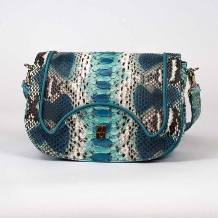shoulder bag in genuine python leather