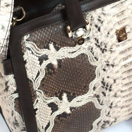Luxury Zakita bag in milk and coffee python