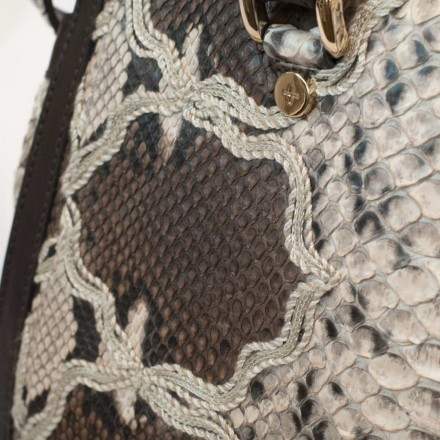 Genuine bag in embroided python GLENI