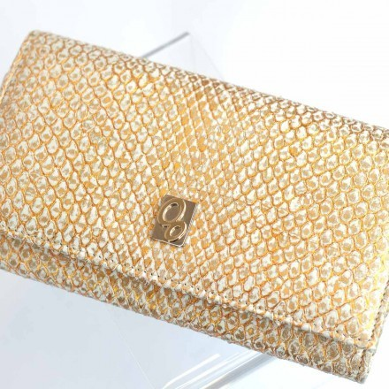 Refined wallet Acc/1 for women in front cut gold python leather