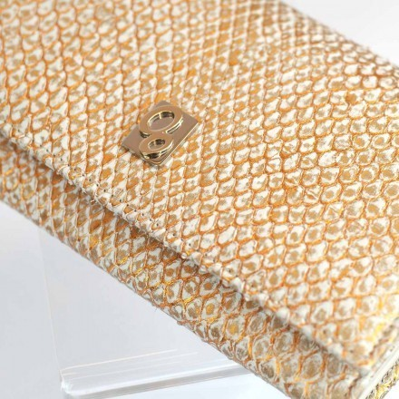 Elegant wallet Acc/1 in front cut gold python leather
