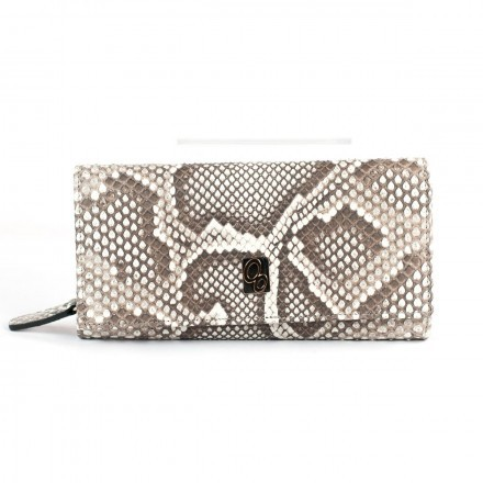 Wallet ACC/4 in genuine python leather in the color Roccia by GLENI