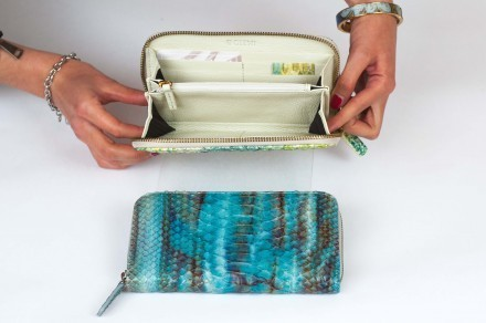 wallet for woman in genuine python leather