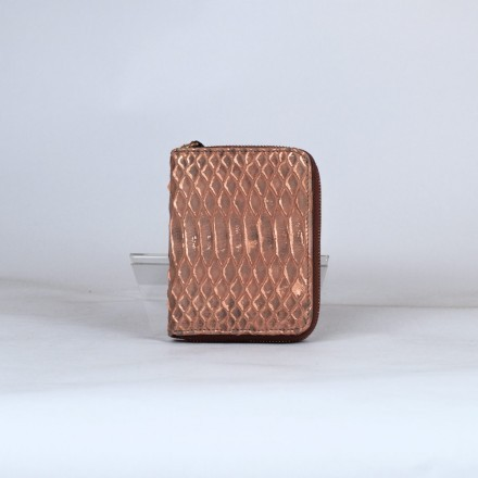 wallet in genuine brillant copper python