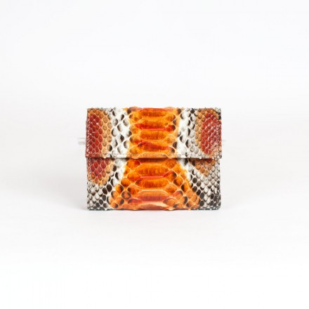 Wallet in genuine GLENI python leather