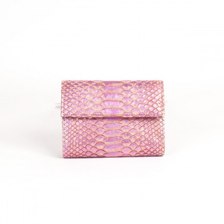 Wallet in bright pink GLENI python leather