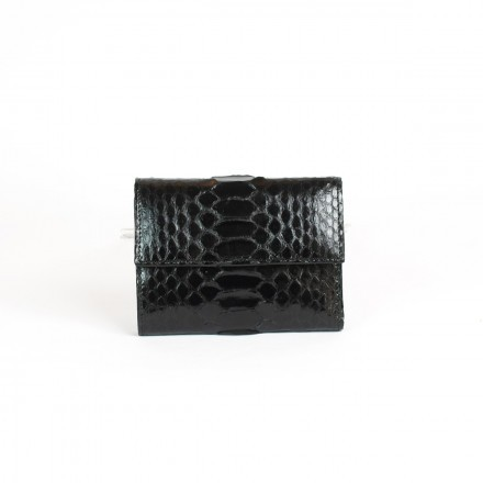 Small wallet in genuine shiny black python leather