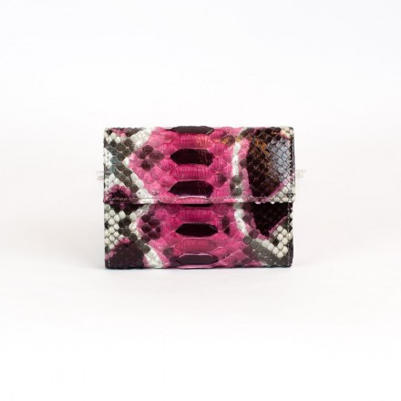 Acc / 7 wallet in genuine orchid color python leather