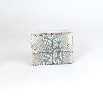 Silver python leather wallet