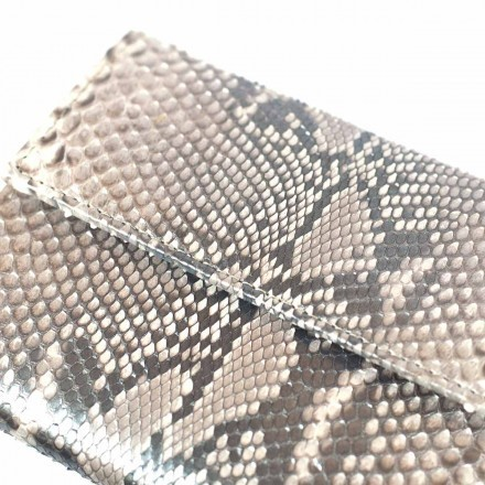 Silver front cut python leather wallet