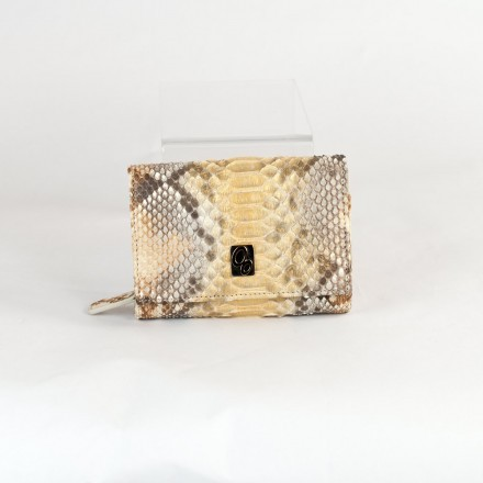 Wallet ACC/8 in gold back cut python