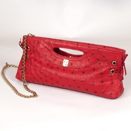 pochette in genuine ostrich leather by Gleni