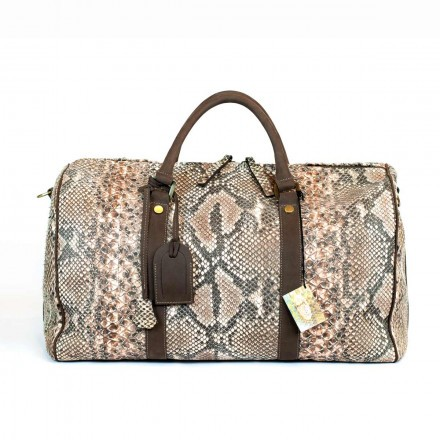Travel bag in genuine python