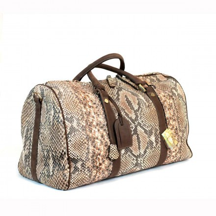 Travel bag in genuine python made in Italy