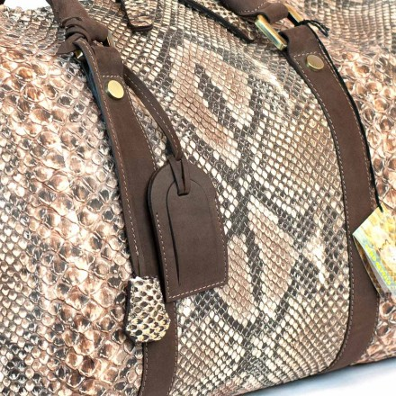 Genuine python reticulatus for travel bag