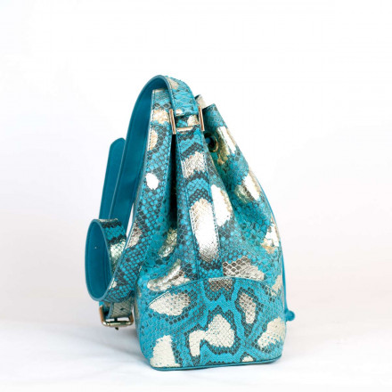Bucket bag in genuine python leather by GLENI