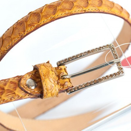Details of the buckle with strass of the C/A 2000 python ocher belt from GLENI