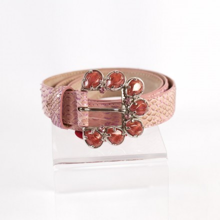 Bright pink leather belt with floral rhinestones and gem-encrusted buckle