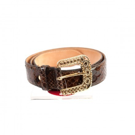 Brown python leather belt