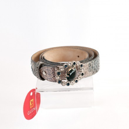 Shining jewel-buckle for genuine python leather belt C3000