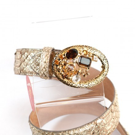Belt D/C 4000 in genuine gold python by GLENI