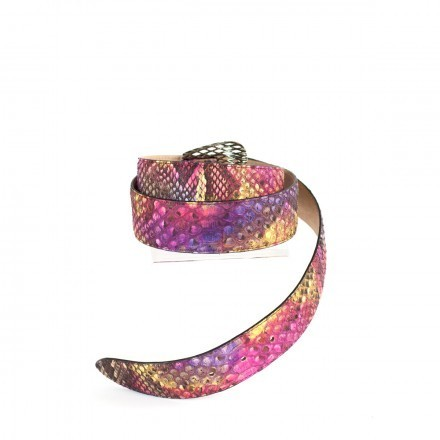 Belt in pink and purple genuine python leather