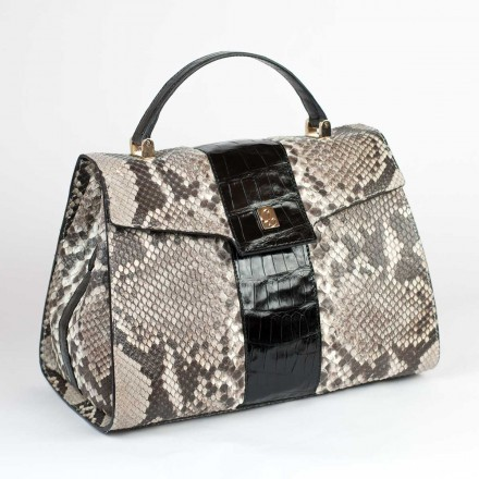Dama in python and crocodile leather