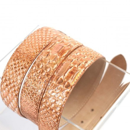Details of the metal copper python leather of the D/C 3000 S belt by GLENI