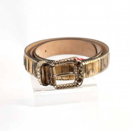 Refined genuine python leather belt