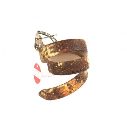 Woman's belt D/C 3000 S in genuine brown python leather