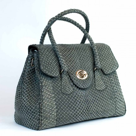 """Dedizione"" handbag in grey anaconda leather with Nabuck processing"