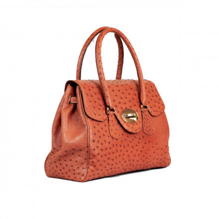 Genuine ostrich bag in cognac colour by GLENI