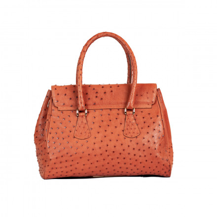 Maxi bag for business in genuine cognac ostrich leather by GLENI