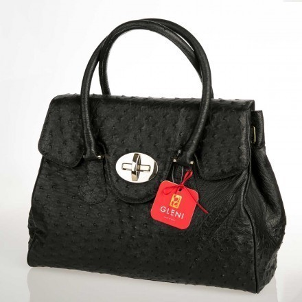 Handbag in genuine ostrich leather