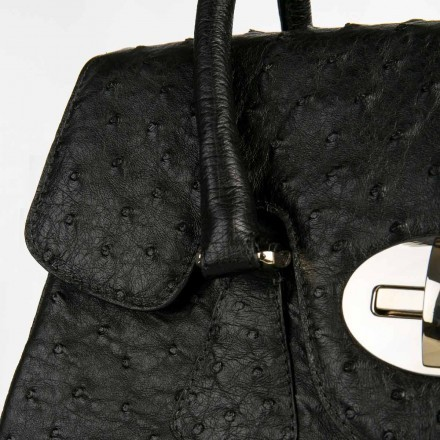 Genuine black ostrich leather